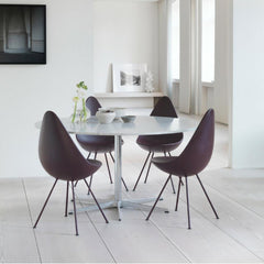 Fritz Hansen Arne Jacobsen Drop chairs with marble dining table