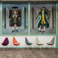 Fritz Hansen Arne Jacobsen Drop Chairs Vibrant Colors in Royal Danish Theater