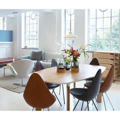 Fritz Hansen Arne Jacobsen Drop Chairs with Analog Table in Heals London showroom