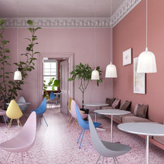 Fritz Hansen Arne Jacbosen Drop Chairs new plastic colors styled in room