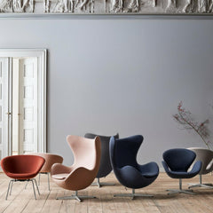 Arne Jacobsen Egg Swan and Pot Chairs in Fritz Hansen Colors in Room
