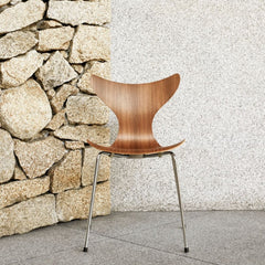 Fritz Hansen Walnut Lily Chair with Stone Wall