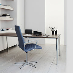 Fritz Hansen Pluralis Table Desk by Kasper Salto in Office with Grey Blue Oxford Chair Premium