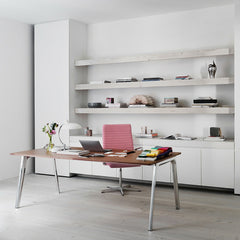 Fritz Hansen Premium Oxford Chair in Light Pink in Bright Home office with Pluralis Table Desk by Kasper Salto