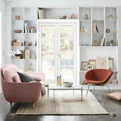 Fritz Hansen Favn Sofa Pink in Room with Pot Chair by Arne Jacobsen