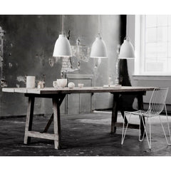 Fritz Hansen Caravaggio Pendant Lights  by Cecilie Manz with Farm Table