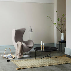 Fritz Hansen Egg Chair in room with Paul McCobb Coffee Table