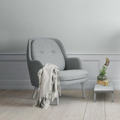 Fritz Hansen Fri Chair by Jaime Hayon with Cashmere Blanket and Poul Kjaerholm Marble Coffee Table