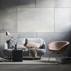 Fritz Hansen Cashmere Throw with Lune Sofa and Pot Chair