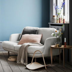 Fritz Hansen Cashmere Throw with Lune Sofa and Tray Table