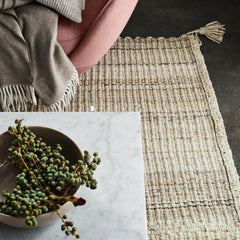 Fritz Hansen Cashmere Throw with Poul Kjaerholm Marble Coffee Table