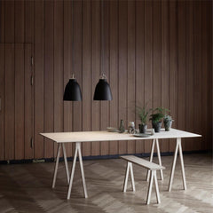Fritz Hansen Cecilie Manz Caravaggio Pendant Lights in Black styled with Farm Table
