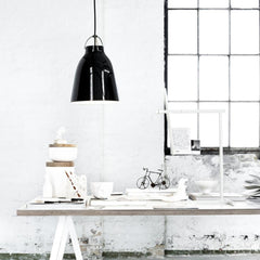 Fritz Hansen Gloss Black Caravaggio Pendant Light by Cecilie Manz in situ