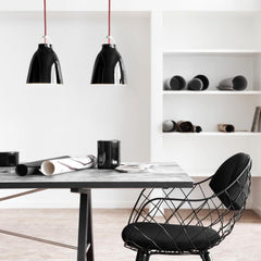 Fritz Hansen Cecilie Manz Caravaggio Pendants Gloss Black with Red Textile Cord
