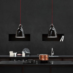 Fritz Hansen Caravaggio Pendant Lights by Cecilie Manz Gloss Black in Vipp Kitchen