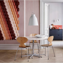 Fritz Hansen Cecilie Manz Caravaggio Pendant P3 with Arne Jacobsen Dining Table and Ant Chairs