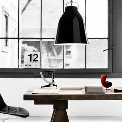 Fritz Hansen Black Gloss Caravaggio Pendant Light by Cecilie Manz in home office