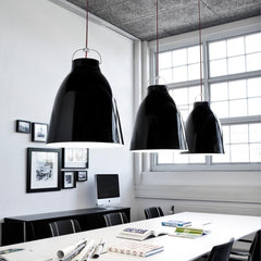 Fritz Hansen Caravaggio Pendant Lights Gloss Black in Conference Room