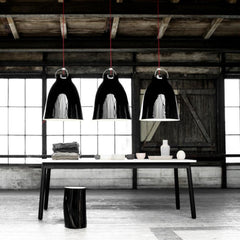 Fritz Hansen P4 Caravaggio Pendant Lights by Cecilie Manz Gloss Black in situ