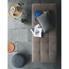 Fritz Hansen Cecilie Manz Pouf in room with Poul Kjaerholm Daybed Aerial View