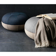 Fritz Hansen Cecilie Manz Poufs Blue and Grey in Room with Cashmere Blanket