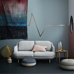 Fritz Hansen Cecilie Manz Poufs in room with small Lune Sofa