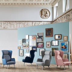 Fritz Hansen Ro Chairs Designer Selection Colors by Jaime Hayon in room with Gallery Wall