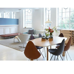 Fritz Hansen Analog Dining Table with Drop Chairs and Kaiser Idell Pendant Light