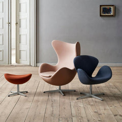 Arne Jacobsen Egg Ottoman in room with Swan and Egg Chairs in Fritz Hansen Colors