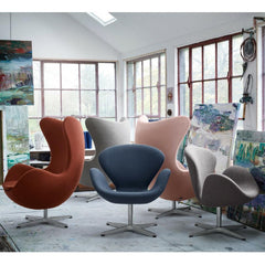 Arne Jacobsen Swan and Egg Chairs in Artist's Studio in Fritz Hansen Colors