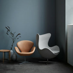 Fritz Hansen Swan and Egg Chairs in Moody Blue Room