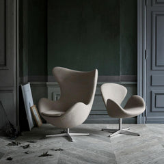 Arne Jacobsen Swan and Egg Chairs in Fritz Hansen Colors Light Warm Grey in Room