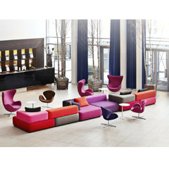 Fritz Hansen Egg Chairs with Swan Chairs and Piero Lissoni Alphabet Sofa in Hotel Skt Petri Lobby Copenhagen