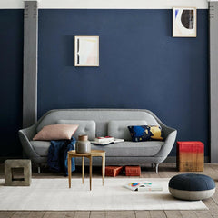 Fritz Hansen Favn Sofa by Jaime Hayon in room with Cecile Manz Pouf