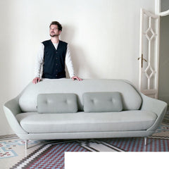 Jaime Hayon with Fritz Hansen Favn Sofa Light Grey in Room