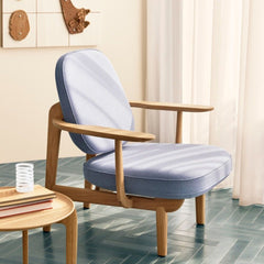 Fritz Hansen Fred Lounge Chair JH97 Light Blue Natural Oak in situ