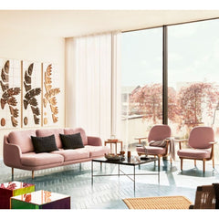 Fritz Hansen Fred Lounge Chairs Light Pink by Jaime Hayon in living room with Lune Sofa and Paul McCobb Planner coffee Table
