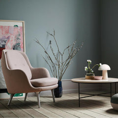 Fritz Hansen Fri Chair by Jaime Hayon in room with Paul McCobb Planner Coffee Table