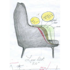 Fritz Hansen Ro Chair Original Design Sketch by Jaime Hayon
