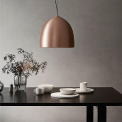 Fritz Hansen Gam Fratesi Suspence Pendant Copper with black Cecilie Manz Essay dining Table.