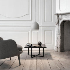 Fritz Hansen Gam Fratesi Suspence Pendant in living room with Jaime Hayon Fri Chair