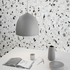 Fritz Hansen Gam Fratesi Suspence Pendant Light Grey with Terrazo Wall