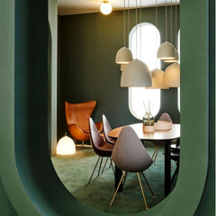 Fritz Hansen Gam Fratesi Suspence Pendants Styled with Analog Table, Drop Chairs and Egg Chair