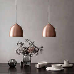 Fritz Hansen Gam Fratesi P1 Suspence Pendants Copper with Cecilie Manz Vases and Earthenware.