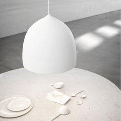 Fritz Hansen Gam Fratesi Suspence Pendant P2 White with Round Dining Table