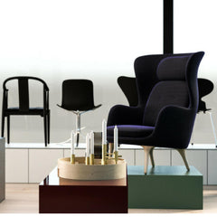 Fritz Hansen Hans Wegner China Chair in Showroom with PK1 Chair and Ro Chair