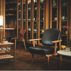 Fritz Hansen Jaime Hayon JH97 Lounge Chair Black Leather in Bar