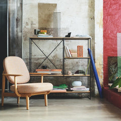 Fritz Hansen Jaime Hayon JH97 Lounge Chair in Kvadrat Raf Simons Ria Peach with Paul McCobb Planner Shelves