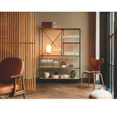 Fritz Hansen Jaime Hayon JH97 Lounge Chair with Grand Prix Chair and Paul McCobb Planner Shelves