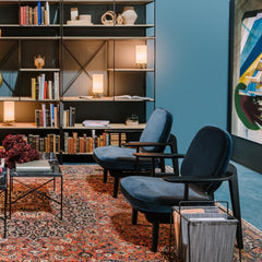 Fritz Hansen JH97 Lounge Chairs in Kvadrat Raf Simons Harald Velvet with Paul McCobb Planner Shelves Salone di Mobile 2019